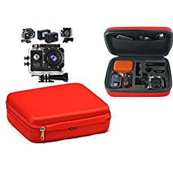 Navitech Rouge Protection Anti-Choc Housse étui de Rangement Compatible avec Campark 4K Ultra HD Underwater caméra d'action
