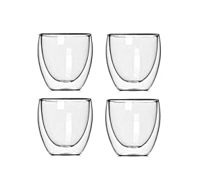 GLFY Double Walled Glass Heat-resistance Espresso / Macchiato Coffee Cups - Box Set Of 4, 88ml