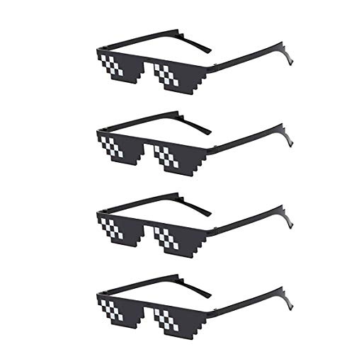 Skraft 4er Set Mosaik Brillen Partybrillen mit 8 Bit Mosaik Sonnenbrille Deal with it Pixel Brillen Thug Life Accessories für Party Cosplay