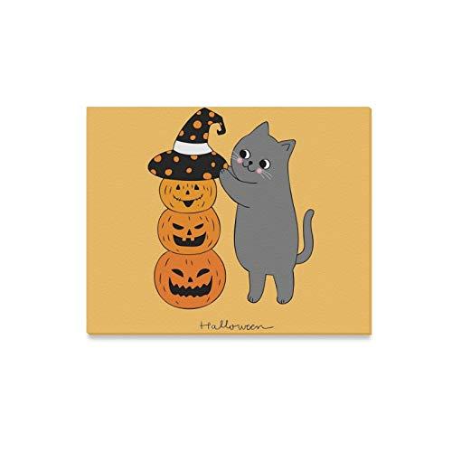 (JOCHUAN Wandkunst Malerei Cartoon Nette Halloween Katze Hut Kürbis Drucke Auf Leinwand Das Bild Landschaft Bilder Öl Für Moderne Dekoration Dekor Für Wohnzimmer)