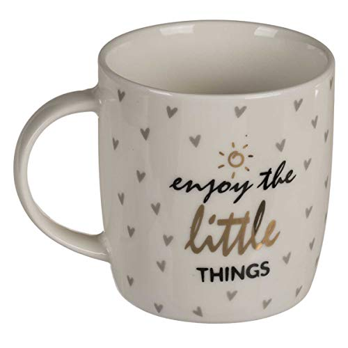 Kaffeebecher Enjoy the little things aus robustem Steingut, altweiß-gold-schwarz-grau, mit Herzmuster, Maße: Ø 8,5 cm (ohne Henkel), Höhe 10,5 cm, Vol. 300 ml, perfekte Geschenktasse