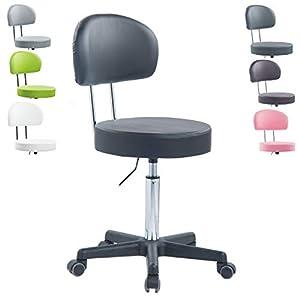 1stuff® Profi Rollhocker Rollstuhl Squash BIGBACK XL - 40cm Sitzbreite - bis 180kg - Höhe bis ca. 70cm - Arzthocker Arbeitshocker Bürohocker Drehhocker (Lederimitat schwarz)