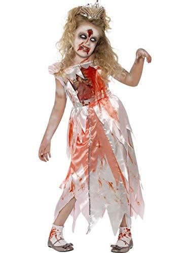 Karnevalsbud - Mädchen Kinder Kostüm schlafende Horror Geister Prinzessin Kleid mit Blutspritzern, Zombie Princess Dress, perfekt für Halloween Karneval und Fasching, 104-116, Weiß