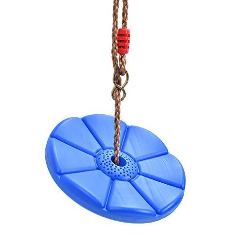 QVIVI Schaukeln Kinderschaukel Kunststoffscheibe Blütenblatt Schaukel Outdoor Indoor Verstellbare Seile Klettergerüst Blau