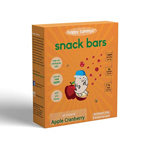 Happy Tummys Apple Cranberry Snack Bars | Natural Energy Boost for Toddlers and Kids | Healthy Snack of Kids | Nutritious and Ready to Eat | (Pack of 5 Bars) | 125g