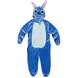 Katara 1744 - Grenouillère Combinaison Adultes Tenue de Nuit Pyjama Kigurumi - Taille M 155-165cm Lilo & Stitch Bleu