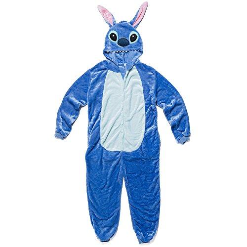 Stitch Kostüm-Anzug Onesie/Jumpsuit Einteiler Body für Erwachsene Damen Herren als Pyjama oder Schlafanzug Unisex - viele verschiedene Tiere (Disney Stitch-halloween-kostüm)