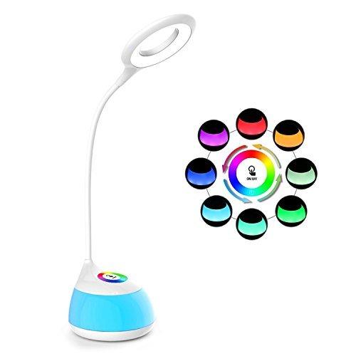 Lámpara de escritorio recargable Led, Ebyphan Lámpara de lectura inalámbrica, Lámparas de mesa inteligente con batería para niños Estudio (Brillo ajustable de 3 niveles, colorida luz de la noche, Touch regulable, Batería de litio 1800mAh)