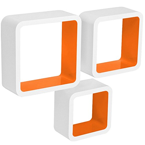 WOLTU RG9236or Wandregal Cube CD DVD Regal Dekoregal Regalsysteme, 3er Set Retro Hängeregal Würfel, weiß-Orange