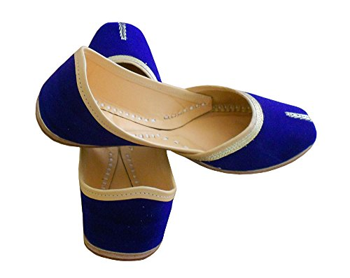 KALRA Creations Damen Traditionelle indische Leder Party Schuhe Blau