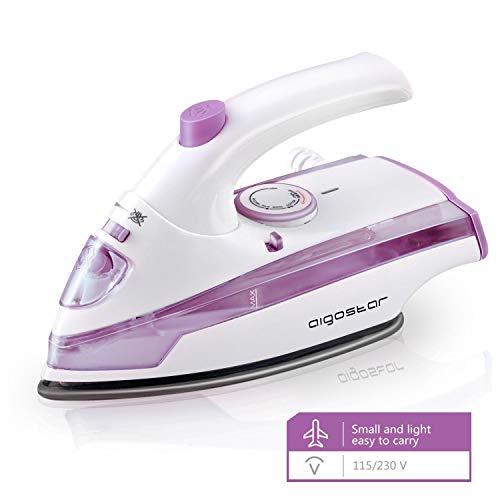Aigostar Purpletravel 31HHM - Plancha de vapor. Doble voltaje (115V + 230 V). Diseño portátil especial para viajes. 800W, suela de teflón antiadherente, 45 ml. Color violeta. Diseño exclusivo