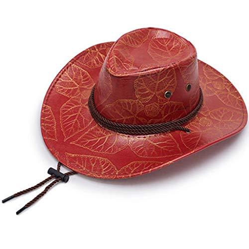 YQCSLS Gran Sombrero de Cuero Estampado Vaquero Sombrero para el Sol Visera Solar Cuerda Ajustable para Viento (Color : Red)