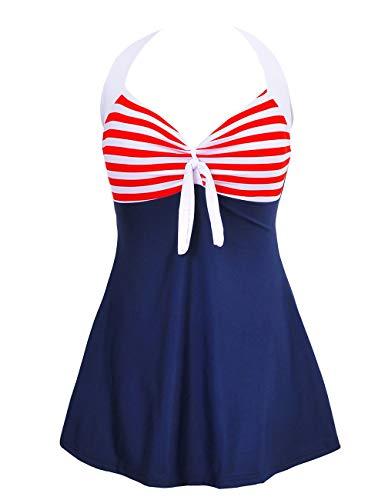 Damen Einteiler Neckholder Badekleid Vintage Mit Bein 50Er Jahre Festlich Bekleidung Streifen Polka Dots Schwimmanzug Retro Bademode (Color : Rotetreifen, Size : L) ()