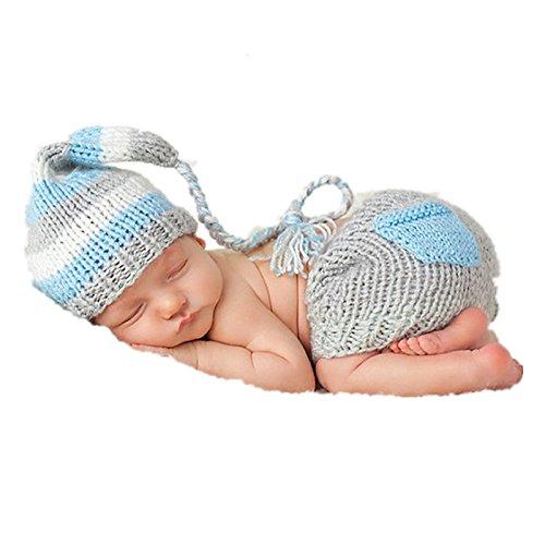 Matissa Baby Kleinkind Neugeborenen Hand gestrickt häkeln Strickmütze Hut Kostüm Baby Fotografie Requisiten Props (Long Tail Hut Outfit - Baby Kleinkind Kostüm