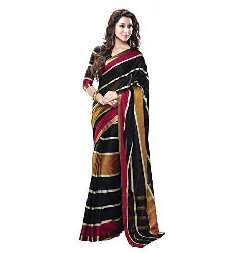 Glory Sarees Poly Cotton Saree (Jari102_Multi Color)