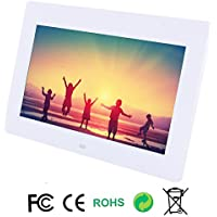 Discoball 10 inch Digital Photo Frame [ HD 720p TFT Bright LCD Display | 16:9 Widescreen ] (White)