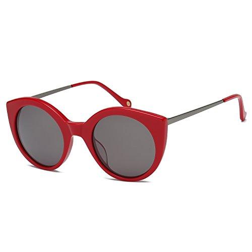 Mareine occhiali da sole da donna rotondi occhi di gatto mr1809 con rosso telaio/grigio lente