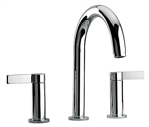 Jewel Faucets Two Lever Handle Roman Tub Faucet w Classic Spout (Antique Black)