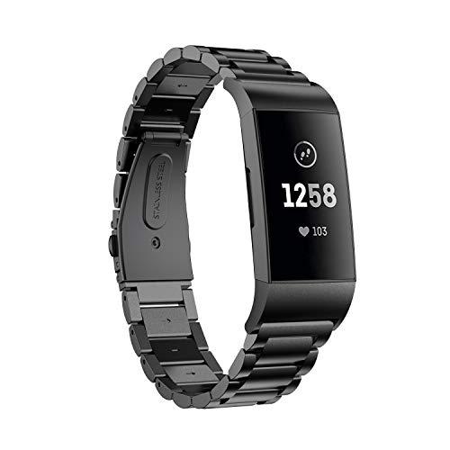 TOPsic Ersatzarmbänder Fitbit Charge 3 Armband, Milanese Loop Edelstahl Metall Ersatz Business Armband Uhrenarmband für Fitbit Charge 3 & Charge 3 SE Smart Watch - Brüniert Metall