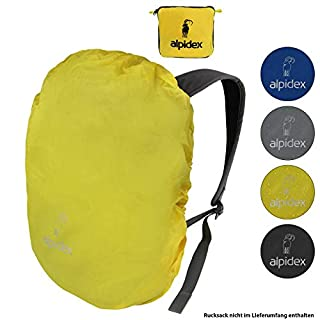 ALPIDEX backpack rain protector NO RAIN rain cover various sizes and colors, for all brands of backpack, with cord stopper and integrated pouch, Colour:yellow, Volume:55-80 Liter
