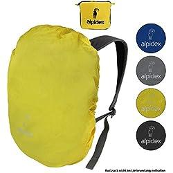 ALPIDEX Rucksack Regenschutz NO RAIN Regenhüllen Verschiedene Größen und Farben, für Rucksäcke Aller Marken, mit Kordelstopper und integriertem Packsack, Farbe:Yellow, Volumen:55-80 Liter