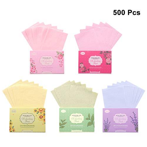 Beaupretty 500 Stücke Gesichtsöl Blotting Paper Gesichtspflegeöl Control Film Oil Absorbierende Blätter (Zufällige Farbe) -