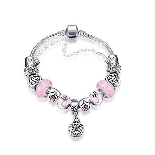Sissi jewelry Bracciale con Charms Argento Placcato a Forma di Fiore Vetro Cristallo rosa Per Le Donne - Pandora Fiore Charm