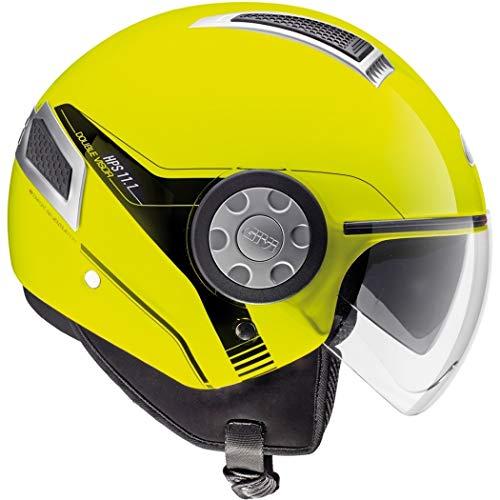 Casco Jet moto scooter con visierino lolare nero parasole helmet areato sfoderabile omologato estivo vespa città visibilità (Giallo Lucido, M)