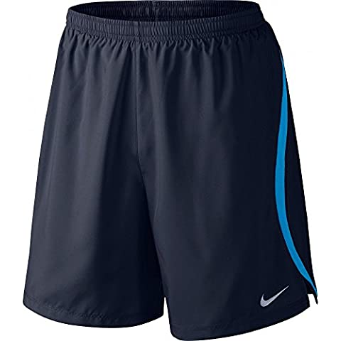 Nike 7In Challenger 2in1 Pantaloncino da Corsa, Obsidian/Lt Photo Blue,