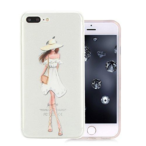 iPhone 7 Plus Coque, Aeeque Fleurs de Dentelle Blanc Dessin Transparent Crystal Silicone Doux TPU Protection Contre les Chutes Case Cover Housse Etui pour iPhone 7 Plus 5.5 pouce Motif #21