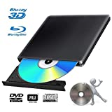 Lecteur Graveur DVD Externe Blu Ray 4K 3D USB 3.0 Portable Ultra Slim Graveur de DVD CD-RW pour Mac OS, Linux, Windows XP/Vista / 7/8/10,PC