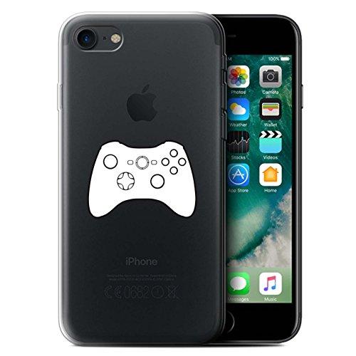 Stuff4 Gel TPU Hülle / Case für Apple iPhone 7 / Schwarz SNES Muster / Spielsteuerung Kollektion Weiß Xbox 360