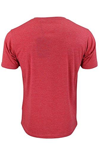 Brave Soul - 2x2 'Saint' Geripptes Kurzärmliges T-Shirt Mit Rundhalsausschnitt Für Herren Rote