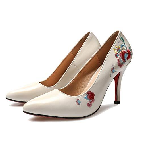 FLYA Sandali con Tacco Alto da Donna a Punta 9CM con Scarpe da Festa da Sposa Ricamate a Vento Etnico,35EU-Beige Embroidery