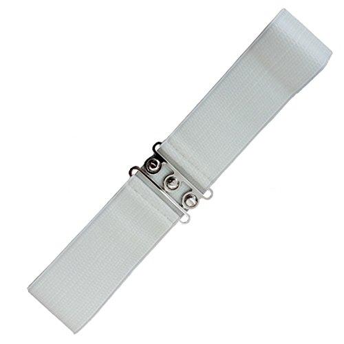 Banned Damen Taillen Stretch Gürtel - Vintage Bond Kleidgürtel Schwarz | Weiß | Rot 7cm breit (S, Weiß)