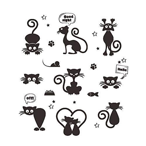 Características del producto: Una decoración de arte moderno para el hogar, con 9 lindos gatos negros. Estas animales se ven travieso y lindo. Compatibles con cualquier superficie: el interruptor, enchufe, neveras, armarios, portatiles, puertas, mueb...