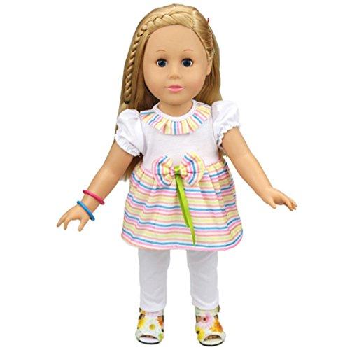 Als Mein Leben Puppe-kleidung (2 Stück Kleid Set, Hübsch Weiße Hübsche Rainbow Strips Outfit Für American Girl Puppe 18 Zoll Unserer Generation, Puppe Rock + Leggings)
