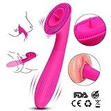 Vibratoren für Sie Klitoris und G Punkt, 8 * 8 Vibrationsmodi klitorisstimulator Zunge Brust Stimulation Dildo mit 185 Weiches Silikon Vibrator Sexspielzeug für Frauen und Paare, Rosa