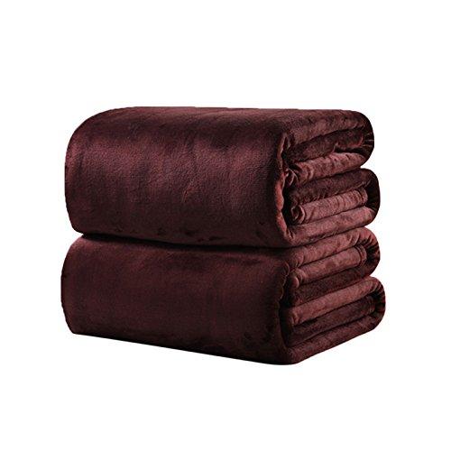 asdomo Flanell Fleece Decken Wirft Luxus Soft Fuzzy Mikrofaser Baby Pet Decke für Single, Reisen, Twin, Full, Queen Oder King Size Bett, Polyester, hellbraun, 180*200cm (Polyester-fleece Trim 100%)