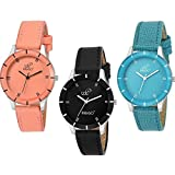 PIRASO Special Super Quality Analog Watches Combo Look Like Pretty for Girls and Women's Pack of 3 605-BLK ORG Sky