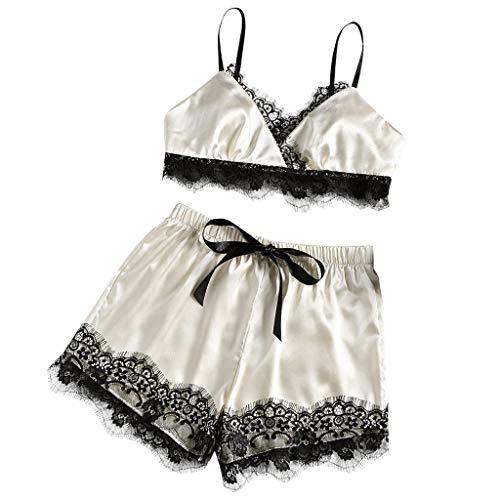 Frauen Sexy Dessous Spitze Bh Hosen Set Sling Shorts Weiche Pyjamas Set Halfter Kleid Komfort Pyjamas Slip Set (EU:44, Weiß) (Size Weißen Slip Plus Kleid)