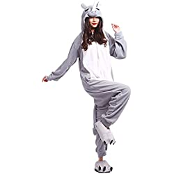 PALAFOX Pijama Gris Lobo, Onesie Modelo Animal Cosplay para Adulto Kugurumi Unisex Kigurumi