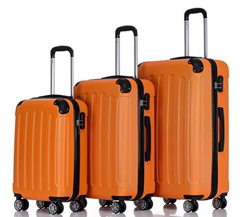 BEIBYE Hartschalen-Koffer Trolley Rollkoffer Reisekoffer Handgepäck 4 Rollen (M-L-XL-Set) (Orangen, Set)
