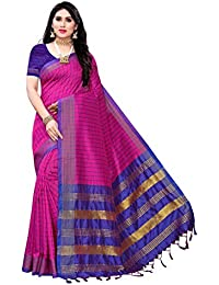 Anni Designer Women's Pink and Blue Cotton Silk Saree With Blouse Piece (KING PINK_Free Size)