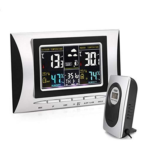 Wetterstation mit LCD Farbdisplay, Digitaluhr mit Wettervorhersage Mondphasen Thermometer Hygrometer für Zuhause Büro