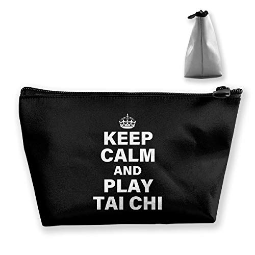 Keep Calm and Play Tai Chi Tragbare Trapez Make-up Tasche Mäppchen Clutch Bag ()