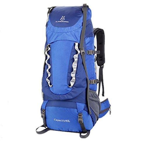 FLAMEHORSE 80L Alpinismo Impermeabile Borsa Zaino da Escursionismo (Nero) Blu