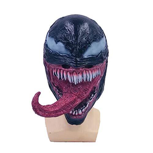 KYOKIM Venom Maske Kind Erwachsener Halloween Mottoparty Schwarze Helm Cosplay Karneva Herren Held Vollen Kopf Deluxe Replik,Blue (Venom-kopf)