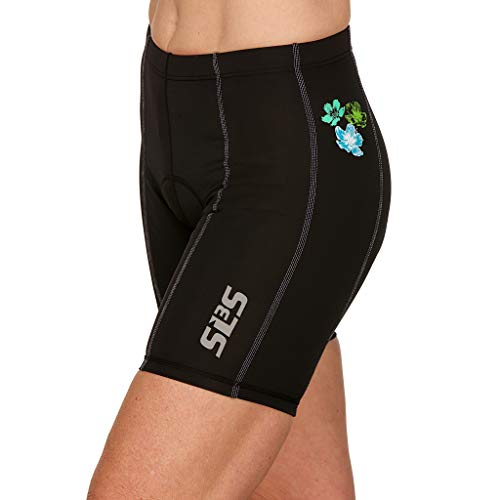 SLS3 Damen Triathlon FRT Tri Bike Shorts, 15,2 cm, schwarz, für Damen, weichem Chamois, deutsches Design, Martinica Hibiscus Blooms, X-Small