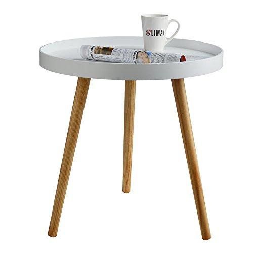 Limal Beistelltisch Tablettform Rund Skandinavisches Design Dreibein Ø 49,5 cm x 50 cm